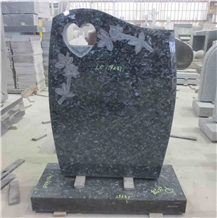 Blue Pearl Granite Gravestone Upright Headstone 06