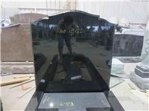 Indian Black Granite Hot Sale Engraved Tombstone