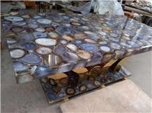 Rectangle Grey Agate Side Table Semiprecious Stone