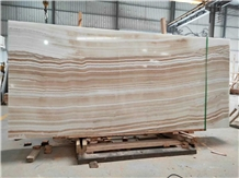 Striped White Onyx Slab