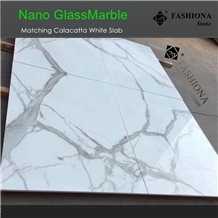 Book Match Nano Calacatta White Glass Marble Slabs
