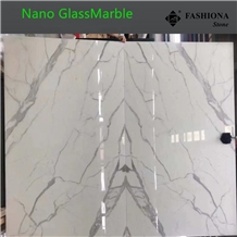 Nano Book Match Calacatta White Glassmarble