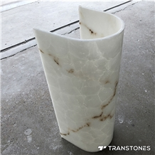 Interior Translucent White Alabaster Column Sheet