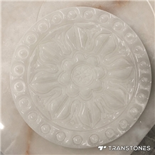 Translucent White Carved Polished Onyx Wall Panel