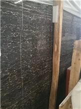 China Fantasy Black Gold Flower Marble Slab Tile