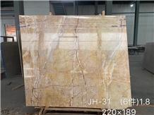 Goose Feather Golden Vein Marble Yellow Tiles Slab