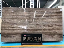 Iran Silver Grey Travertine Slab Tiles Wall