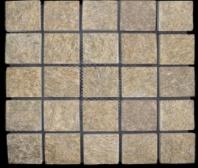 China Yellow Cube Stone Paving Stone on Mesh