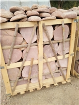 Pink Machine Cut River Pebble Cobblestone Step