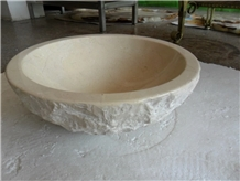 China Beige Marble Round Natural Stone Sink