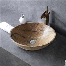 China Custom Made Wood Grain Brown Sink Polished