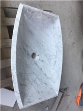 White Marble Rectangle Wash Basin Sink Polished