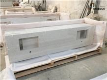 White Mirror Quartz Vanity Top, Bathroom Top