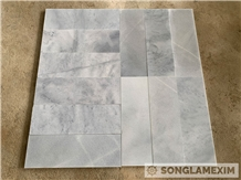 Sandblasted Silver Grey Marble Tile