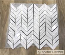 White Polished Marble Chevron Mosaic