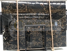 Black Portoro Gold Flower Marble Slabs Tiles Wall