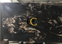 Brazil Titanium Cosmic Black Granite Slabs Tiles