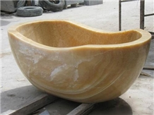 Natural Marble Onyx Stone Oval-Shaped Bathtub
