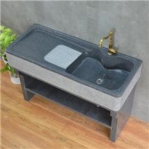 Solid Block Gray Yellow Granite Laundry Tray
