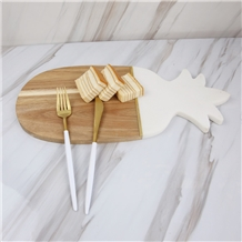 Pineapple Marble and Wood Cheese Board Platter