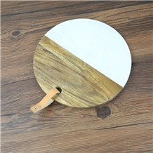 Round Marble Wood Cheese Serving Board