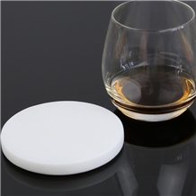 White Round Marble Coaster for Bar Accessory