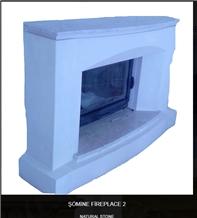 Esbelli White Tuff Stone Fireplace