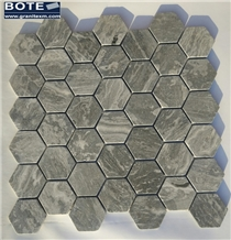 Hexagon Mosaic Tile Seawave Grey Marble Mosaics