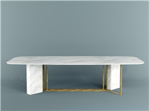 Calacatta Carrara White Marble Conference Table Top 10 Seat Design