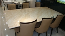 Diana Royal Beige Marble Restaurant Rectangle Dinner Table