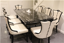Silver Dragon Black Marble Interior Rectangle 8 Seat Dinner Table
