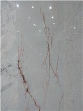 Red Line White Jade Marble Slabs, Tiles