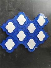 Blue Glass and White Marble Water Jet Mosaics Sale