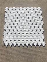 Carrara White and Nero Marquina Marble Diamond Mosaic