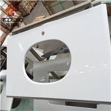 Nano Pure White Polished Glass Crystaliezed Stone Vanity Top