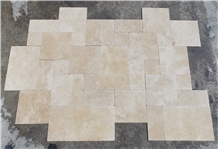 Classic Travertine French Pattern Tumbled Tile