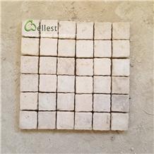 China Beige Limestone Mesh Cobblestone Pavers