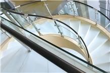 Anti Slip White Color Nano Stone Spiral Staircase