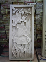 Bali White Limestone Teratai Flower Carving Relief