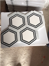 Bianco Carrara-Nero Marquina Hexagon Marble Mosaic