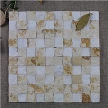 Crystal White Mix Beige Marble Split Marble Mosaic