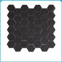 India Black Galaxy Hexagon Polish Marble Mosaic