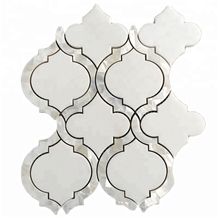 Thassos White Shell Waterjet Marble Mosaic