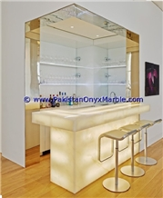 Backlit Onyx Commercial Counter Tops Bar Tops, Receiption Counters