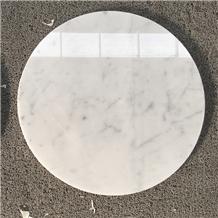 Round Carrara White Marble Restaurant Top