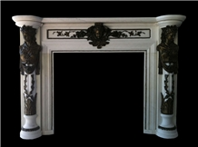 White Marble Fireplace Mantels with Bronze Insert