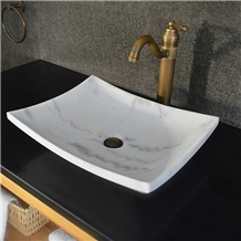 Natural Oriental White Marble Rectangle Stone Sink