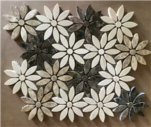 Beige Marble Light Emperador Flower Mosaic Tile