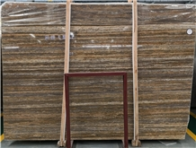 Brown Wood Grain Travertine Slabs Wall Floor Tiles