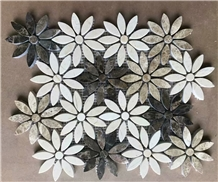 Cream Marfil Light Emperador Marble Flower Mosaic